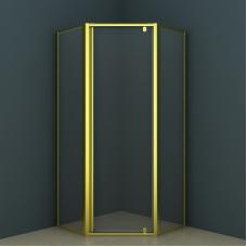 Душевое ограждение CS-113P 90*90*200 золото, 6мм прозрачное стекло